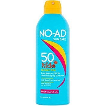 NO-AD Kids Continuous Sunscreen Spray SPF 50 10 oz (Pack of 2) by No-Ad Suntan