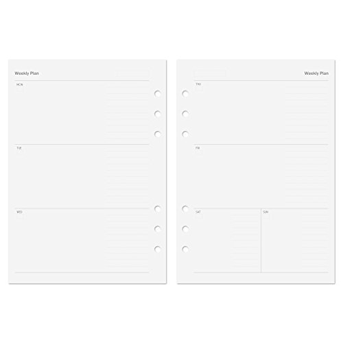 Discagenda Planner Insert Refills 6-Hole Ringbound 53 Sheets 120gsm 80lb 5.8x8.3in (Weekly, A5)