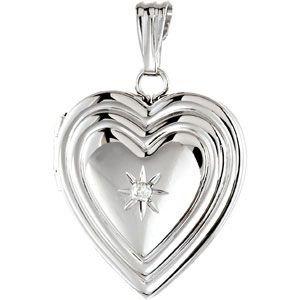 Argent Sterling en forme de cœur avec diamants bruts médaillon JewelryWeb 15 mm
