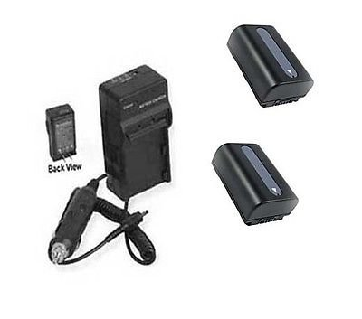 2 Batteries + Charger for Sony HDR-PJ320, Sony HDR-PJ320E, Sony HDR-PJ380, Sony PJ380E, Sony HDR-PJ390