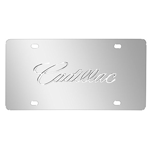 (iPick Image Cadillac Name in 3D Logo Chrome Stainless Steel License Plate)