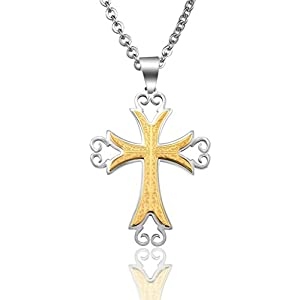Gnzoe Jewelry, Women Stainless Steel Cross 50x40MM Pendant Necklace Chain