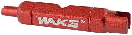 Emilyisky Wake Válvula de Llave de Bicicleta de Doble Cabezal Herramienta de desmontaje del núcleo Válvula multifunción Herramienta de extracción del núcleo Desmontaje de la Llave roja