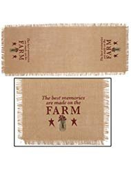 - Red Best Memories Made On Farm 13 x 36 Burlap Embroidered Applique Table Runner