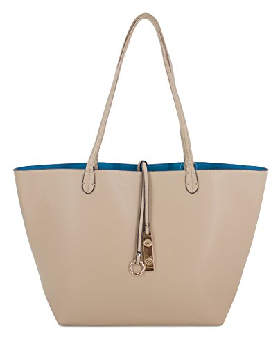proya-collection-reversible-2-in-1-fashion-tote-handbag-with-pouch-beige