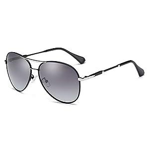 HOHAUSA Oversized Polarized Aviator Women Sunglasses UV Protection (Black Frame, 2.48)