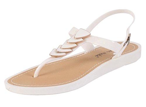 Damen Flache Sandalen Damen Sommer Strand Ankle Strap Schuhe Sandalen Weiß