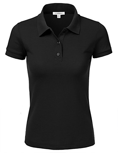 JJ Perfection Women's 3-Button Short Sleeve Slim Fit Junior Golf Polo Shirt