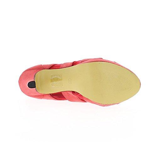 Low-boots femme roses ouverts à talon de 10,5cm et plateau aspect daim