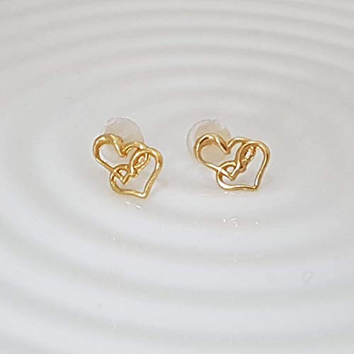 - Tiny Gold Plated Double Heart Stud Earrings, For Women and Girls, Pair
