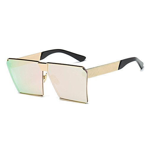Light Gold Lens (ONMeT Oversized Square Sunglasses 2017 Aviator For Women Men Polarized Gradient Metal Frame Trendy (Golden, Light Pink))