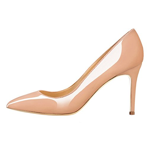 June in Love Women's Middle Heels Shoes Pointy Toe for Daily Usual Girls Lady Pumps Nude 7 US