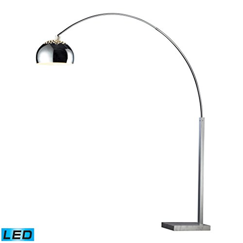 Glass Arc Lamp Floor (Manhattan Collection Penbrook LED Arc Floor Lamp In Chrome With White Marble Base)