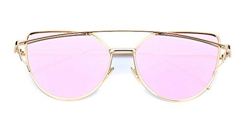 Slocyclub Cat Eye Flat Lenses Street Fashion Metal Frame Women UV400 - Online Try On Eyeglasses Free