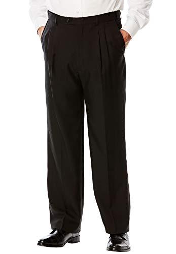 Kings' Court Men's Big & Tall Easy Movement Expandable Waist Pleated Dress Pants, Black Big-4638