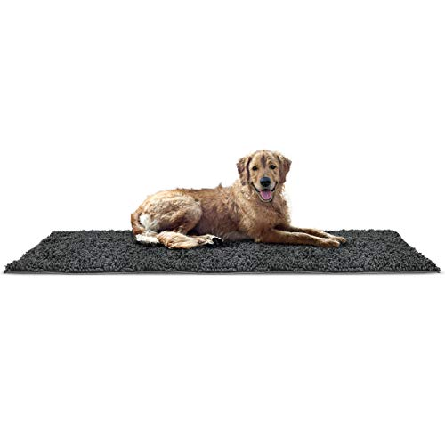 FurHaven Pet Dog Mat | Muddy Paws Towel & Shammy Rug, Charcoal (Gray), Runner ()
