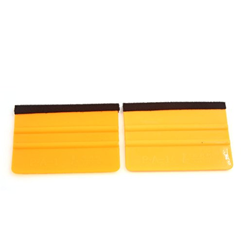 uxcell 2 Pcs Universal Yellow Plastic Coated Retangle Car Scraper Cleaner