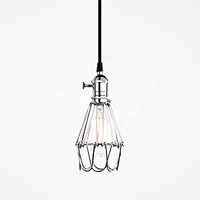 Industrial Vintage Style Hanging Pendant Light Fixture Metal Wire Cage Lamp Guard Adjustable Cage to Different Color by Pathson Lights