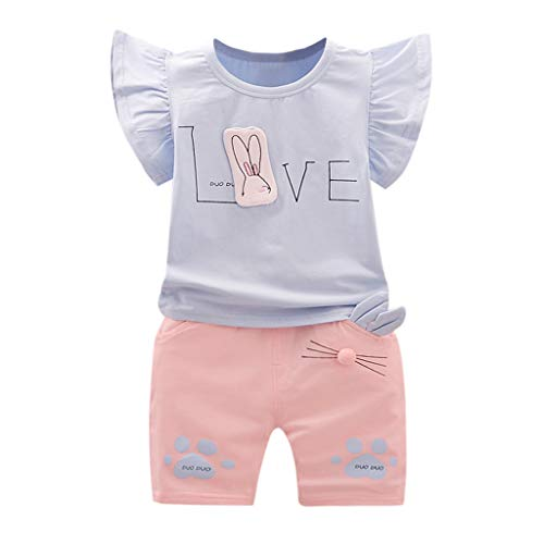 WOCACHI Toddler Baby Girls Clothes, Kids Baby Girls Outfits Cartoon Print T-Shirt Tops+Shorts Clothes Set Back to School Easter Egg Costume Parade Bunny Lily Eggs Roll Basket Mother's Day