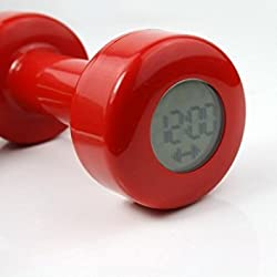 Novel Creative Red Dumbbell Alarm Clock Shape up 30 Times New