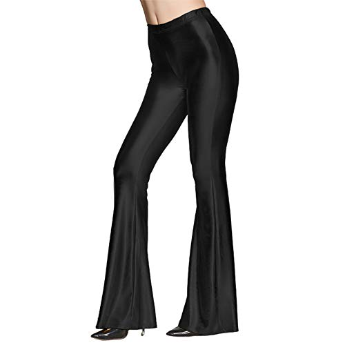 Women Shiny Metallic Flare Bell Bottom Bootcut Palazzo Leggings Retro Long Wide Leg Hippie Pants Slim Fit High Waist Wetlook Vintage 70s Party Costume Disco Birthday Dance Glam Yoga Trousers Black L]()
