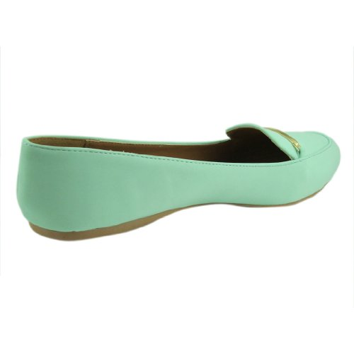 Qupid Womens Gracie41 Nubuck Pointy Toe Loafer Flat Menthol 2Mvz9GhS