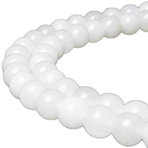 - JARTC Natural White Jade Gemstone Loose Beads Round 6mm Energy Stone Healing Power for Jewelry Making