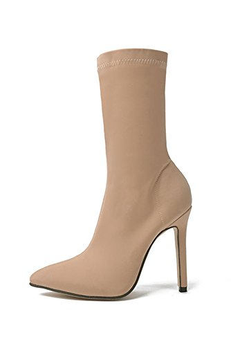 Miss Floral® Women's Pointed Stiletto High Heel Sock Boots 2 Colour UK Size 3.5 - 7.0 Beige 5kCDd
