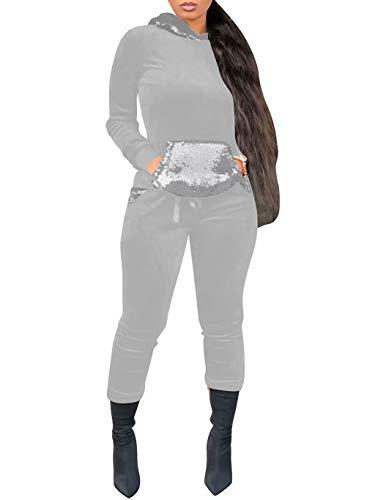 Women Velour Sequins Tracksuit 2 Piece Outfit Hoodie & Sweatpants Jog Set Gray L -