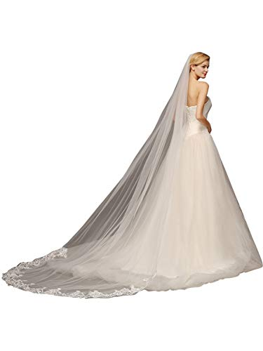 1 Tier Wedding Veil Tulle Sheer Wedding Bridal Veils Cathedral for Bride,White