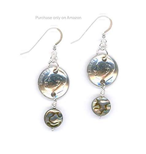 1999 Dime Earrings 20th Birthday Earrings 20th Anniversary Gift Coin Jewelry Heart Paua Shell Beads 1999 ()