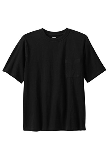 KingSize Men's Big & Tall Shrink-Less Pocket Crewneck Tee, Black Big-2Xl