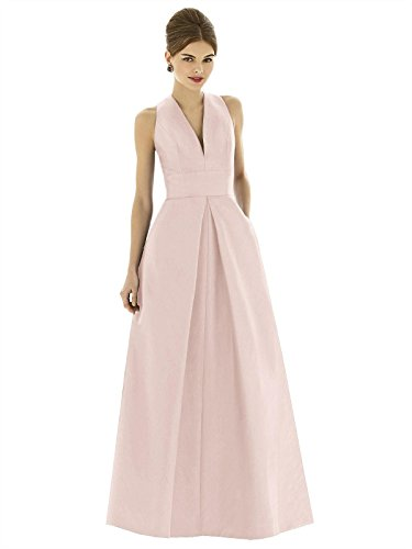 Alfred Sung Style D611 Floor Length dupioni Pleated Skirt Formal Dress - Sleeveless V-Neck - Pearl Pink - 10