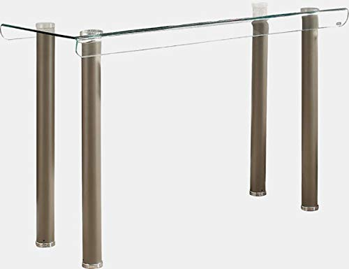 Metal Console Table with Glass Top - Console Table with Bent Table Edges - Antiqued Champagne