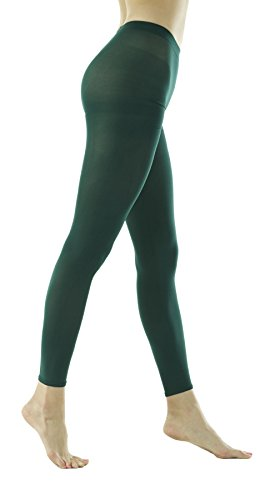 (Women's 80Denier Semi Opaque Solid Color Footless Pantyhose Tights 2pair or 6pair (X-Large, Dark Green) )