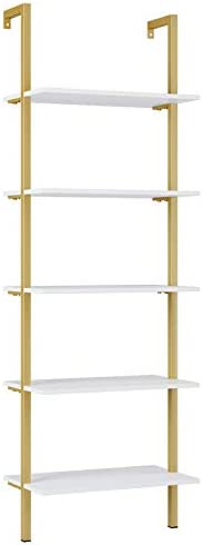 Homfa 5-Tier Industrial Ladder Shelf Against The Wall, 72.6 Inches Display Storage Rack Plant Flower Stand Utility Organizer Bookshelf Wood Look Accent Metal Frame Furniture Home Office, Gold