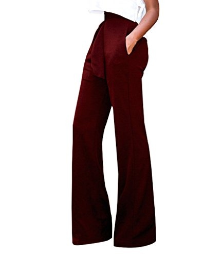 GUOLEZEEV Women Long Pants Elegant Bandage High Waisted Flare Palazzo Trousers Wine Red L by GUOLEZEEV (Image #1)