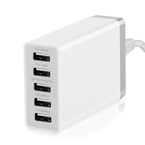 5 Port USB Wall Charger Hub, 40W 8A, Desktop USB Charging Station for Multiple Devices, Multi Ports USB Charger for Phones, Tablets and More