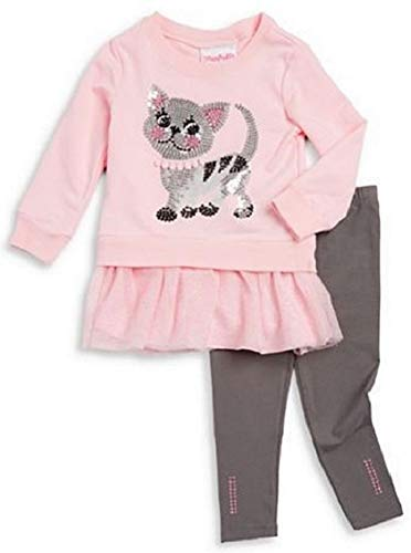 Outfit Flapdoodles Girl (Flapdoodles Girls Pink Gray Sequin Cat Size 2T-6X Tunic Top Pants (5))