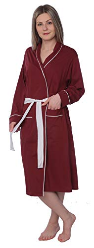 Cotton Knit Wrap Robe - Women's Soft Jersey Knit Cotton Blend Wrap Robe Sleepwear with Piping Finish Y18_WJR01 Maroon 2X