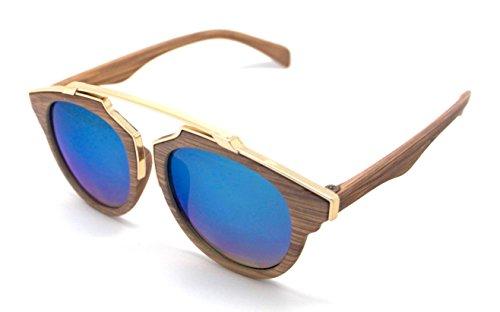 P3409 Gafas Hombre Sol de Sunglasses Espejo Mujer Madera xg7F8qp