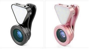 Qiraoxy Lente Selfie 3 en 1 con Luz de Flash LED de Belleza Y Lente Macro Y Gran Angular Lente de Tel/éfono Lente de Luz de Relleno de Lente de Tel/éfono M/óvil Tres en Uno