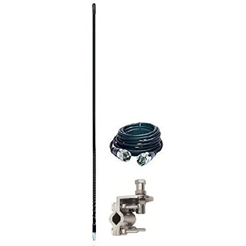 ARIES 10813 SINGLE 3` FOOT 500 WATT CB RADIO ANTENNA KIT W/ MIRROR MOUNT AND COAX (BLACK)