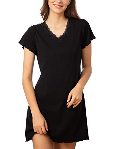 Onniel Women Pajamas Dress V Neck Ruffle Seams Short Sleeves Sleepwear Black XL (Womens Short Sleeve Pajamas Xl)