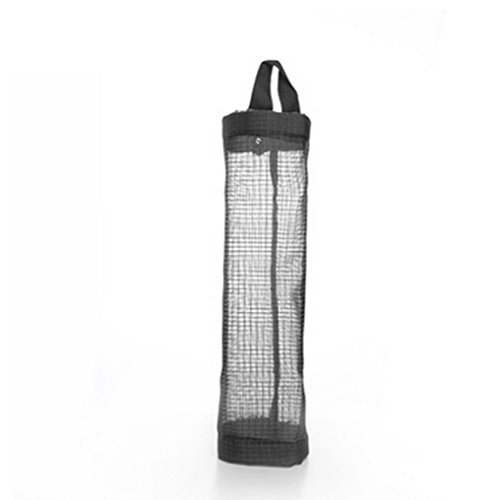 Mesh Garbage Bag Plastic Bag Holder Dispensers Folding Hanging Storage Bag Trash Bags Holder Organizer Recycling Grocery Pocket Containers for Home and Kitchen -