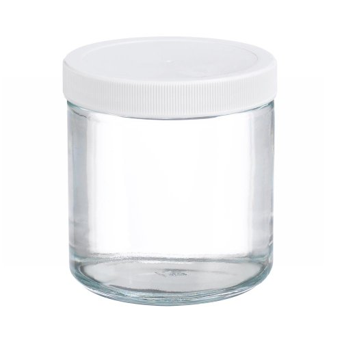 Wheaton W216906 Clear Glass 16oz Straight Sided Jar, with 89-400 White Polypropylene Poly-Vinyl Lined Screw Cap (Case of 12) (Polypropylene Jars)