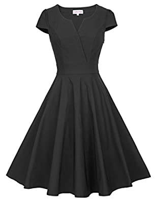 Belle Poque Retro Vintage 1950's Dress Cap Sleeve V-Neck Swing Dress BP372
