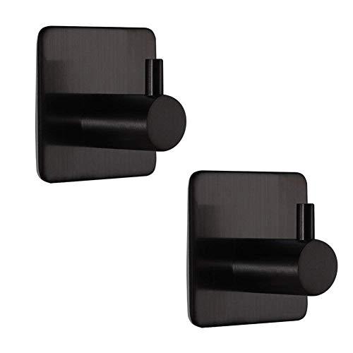 BQTime Modern 3M Self Adhesive Hooks Stainless Steel Towel Robe Coat Cloth Bag Key Holder Hanger(2 Pack Single Hook), Heavy Duty, Wall Mounted, Waterproof, Kitchen Bathroom Shower Accessories, Black by BQTime (Image #7)