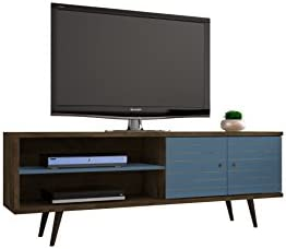 ModHaus Living Mid Century Modern TV Stand Media Cabinet with Shelves and Doors – Includes Pen Aqua Blue