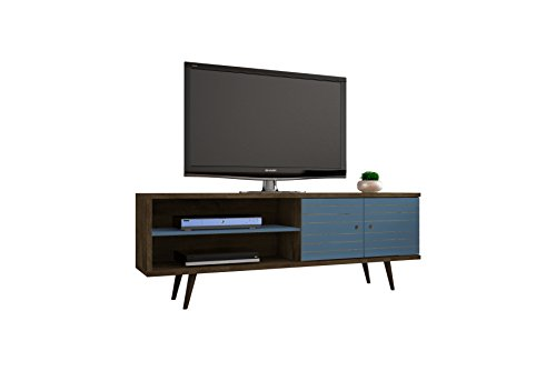 Manhattan Comfort Liberty Collection Mid Century Modern TV Stand With One Cabinet and Two Open Shelves With Splayed Legs, Wood/Teal